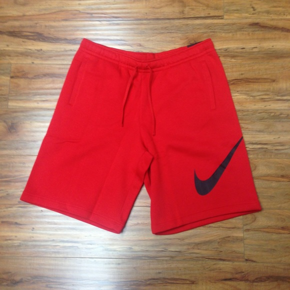 Red Nike Swoosh Mens Cotton Shorts 571d62ea36bb